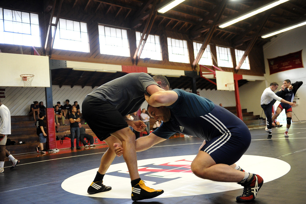 . The U.S. national wrestling team members Chris Pendleton, left, and Tervel Dlagnev practice at Harvard-Westlake High School, Friday, May 17, 2013.