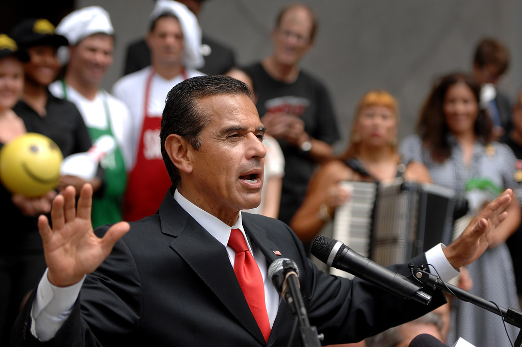 . Los Angeles Mayor Antonio Villaraigosa speaks during a Carmageddon press conference Tuesday September 11, 2012, at the Hollywood & Highland Center. (Michael Owen Baker/L.A. Daily News)
