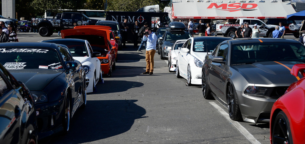 . Nov 5,2013 Las Vegas NV. USA. Hundreds of custom cars on display during the first day of the 2013 SEMA auto show.