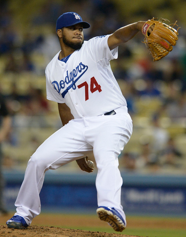 . Kenley Jansen on the mound. The Dodgers defeated the San Diego Padres 8-6 at Dodger Stadium. Los Angeles, CA. 8/19/2014(Photo by John McCoy Daily News)