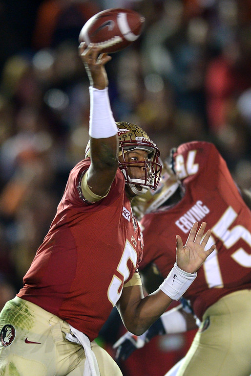 . Florida State QB Jameis Winston passes against Auburn in the second half of the BCS national championship game at the Rose Bowl, Monday, January 6, 2014. (Photo by Michael Owen Baker/L.A. Daily News)