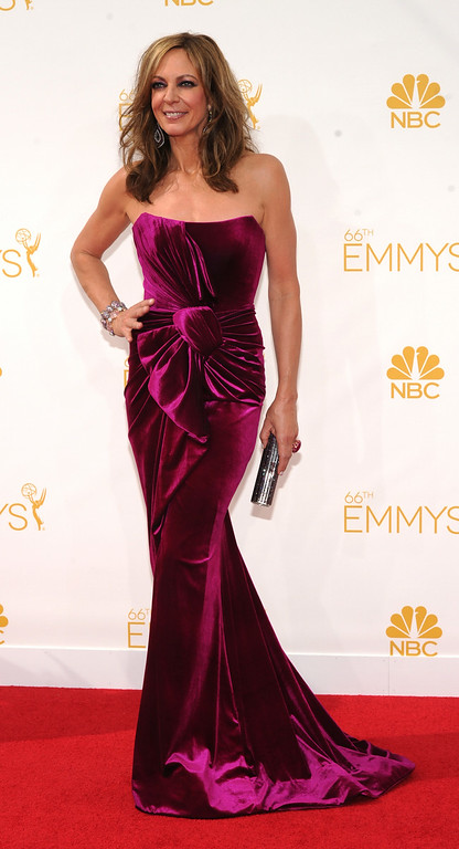 . Allison Janney on the red carpet at the 66th Primetime Emmy Awards show at the Nokia Theatre in Los Angeles, California on Monday August 25, 2014. (Photo by John McCoy / Los Angeles Daily News)