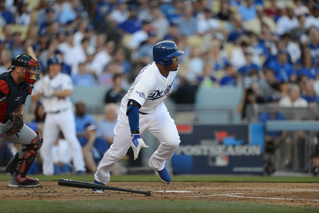 . Los Angeles Dodger\'s Carl Crawford hits a single in the first inning during game 3 of the NLDS at Dodger Stadium Sunday, October 6, 2013. (Photo by Hans Gutknecht/Los Angeles Daily News)