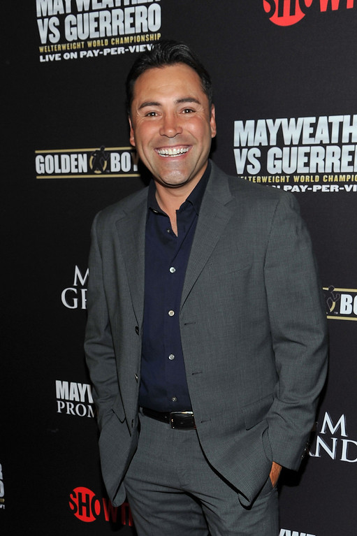 . LAS VEGAS, NV - MAY 04:  President of Golden Boy Promotions Oscar De La Hoya arrives at a VIP pre-fight party at the WBC welterweight title fight between Floyd Mayweather Jr. and Robert Guerrero  at the MGM Grand Hotel/Casino on May 4, 2013 in Las Vegas, Nevada.  (Photo by Jeff Bottari/Getty Images)
