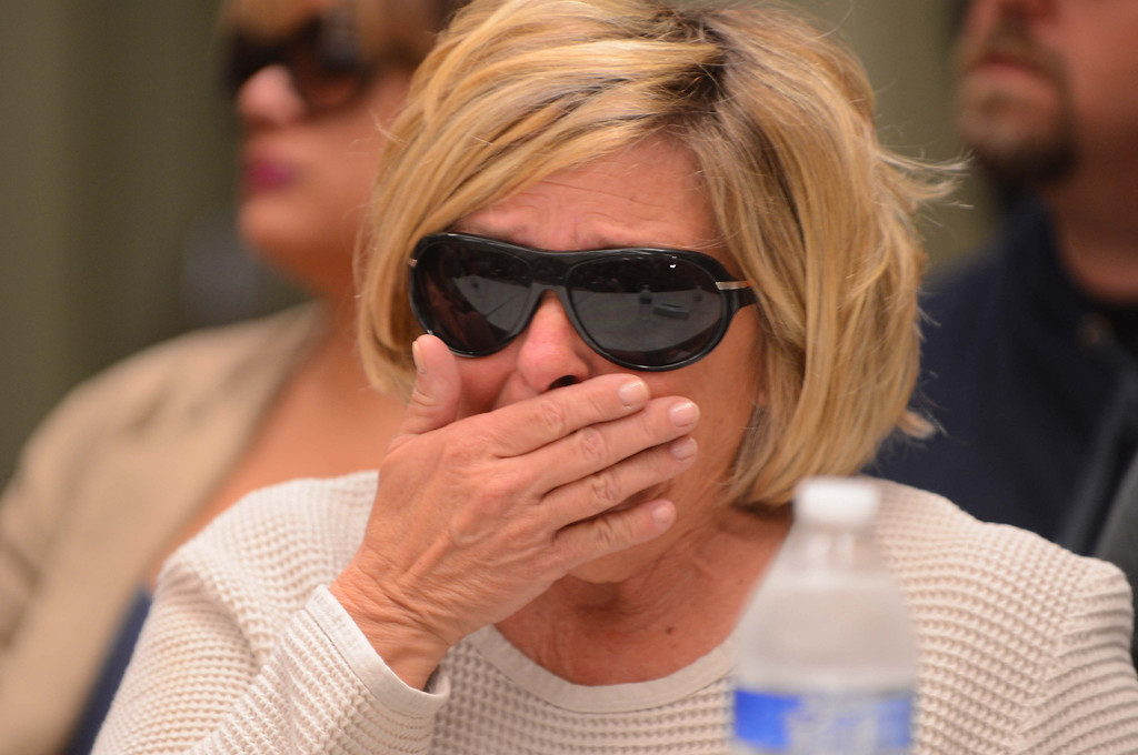 . Susan Blanke, the mother of Joseph McStay, breaks down in tears during a news conference about her son and his family on Friday, Nov. 15, 2013, at the San Bernardino County Sheriff\'s Department. Blanke\'s son and his family\'s bodies were found in a shallow grave on Monday, Nov. 11, 2013 in Victorville. (LaFonzo Carter/The Sun)