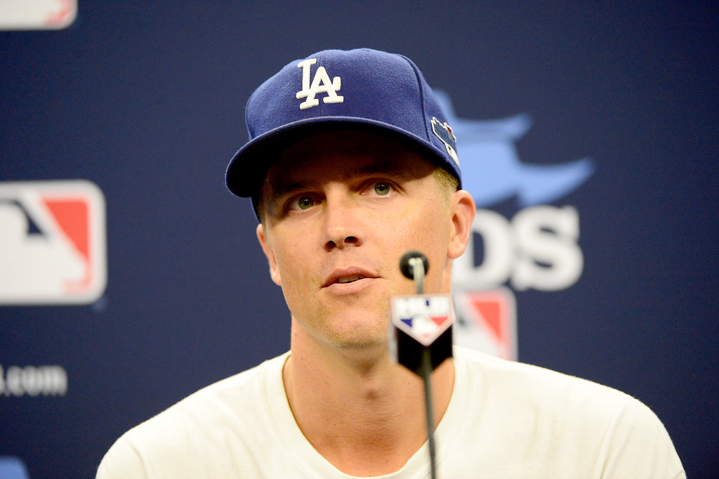 . Dodgers\' Zack Greinke, starting pitcher for game 2, speaks to the press before the first game of the playoffs Thursday, October 3, 2013 at Turner Field in Atlanta, Georgia. (Photo by Sarah Reingewirtz/Pasadena Star- News)