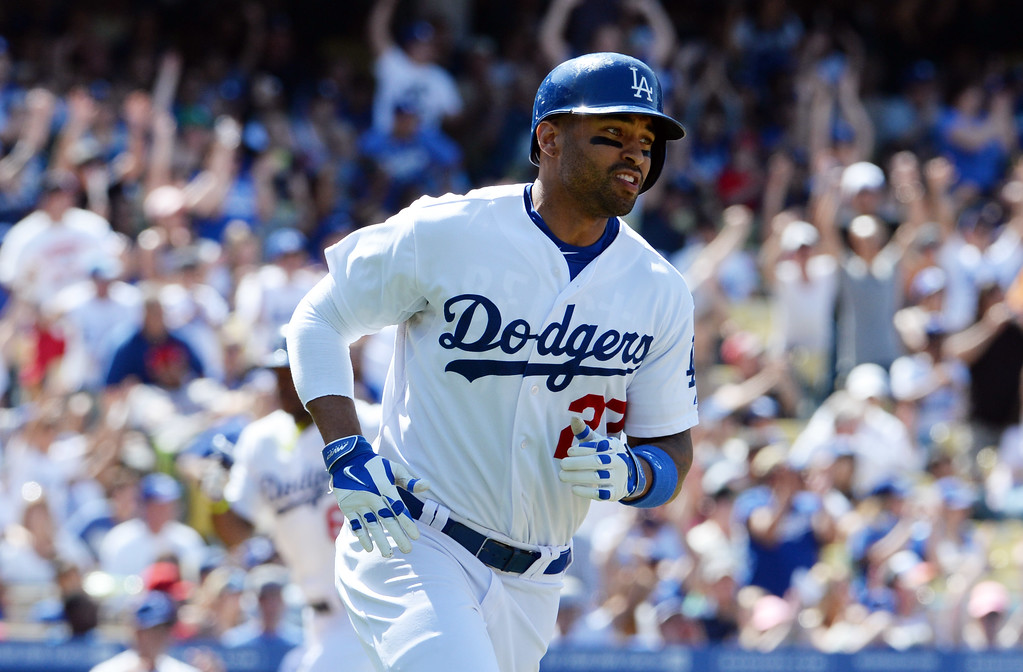 . Los Angeles Dodgers\' Matt Kemp RBI single in the sixth inning of a Major league baseball game against the Los Angeles Dodgers on Saturday, May 10, 2013 in Los Angeles.   (Keith Birmingham/Pasadena Star-News)