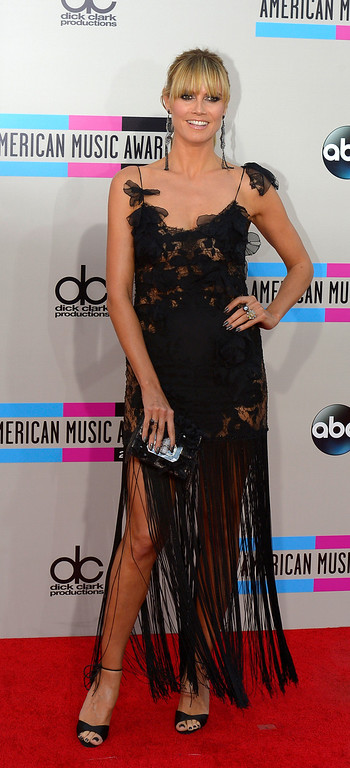 . Heidi Klum arrives to the American Music Awards  at the Nokia Theatre in Los Angeles, California on Sunday November 24, 2013 (Photo by Andy Holzman / Los Angeles Daily News)