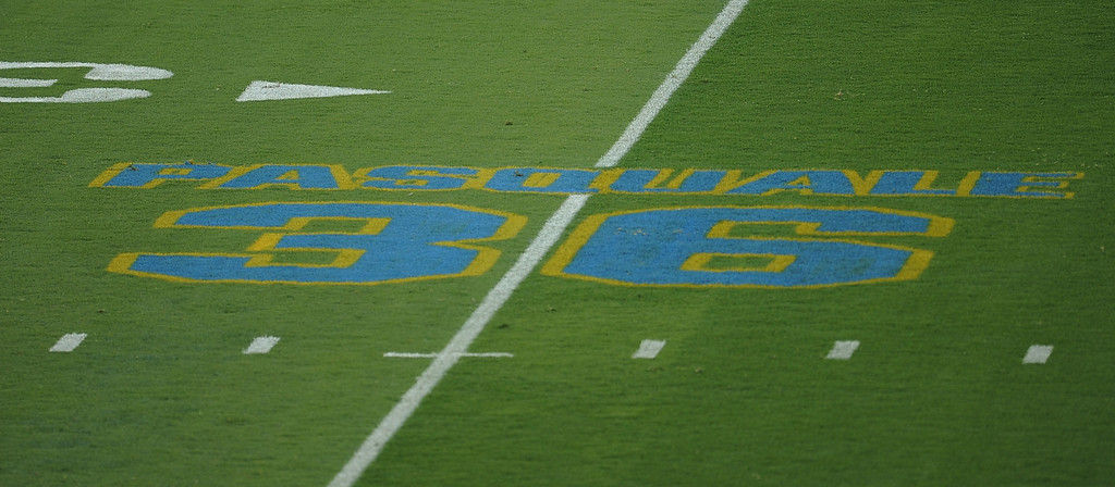 . A on field memorial for Nick Pasquale, the UCLA receiver who was struck and killed by a car on Sept. 8th in San Clemente prior to their college football game against in the Rose Bowl in Pasadena, Calif., on Saturday, Sept. 21, 2013.   (Keith Birmingham Pasadena Star-News)