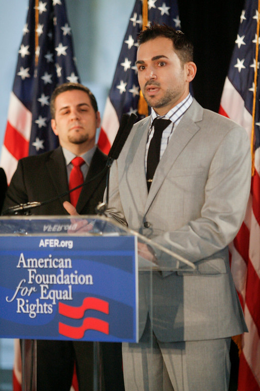 . Paul Katami, right, and Jeff Zarrillo,  both of Burbank, CA talk about the appeals court ruling that Prop 8 is unconstitutional at a press conference in Los Angeles Tuesday Morning.   Photo by David Crane/Los Angeles Daily News.