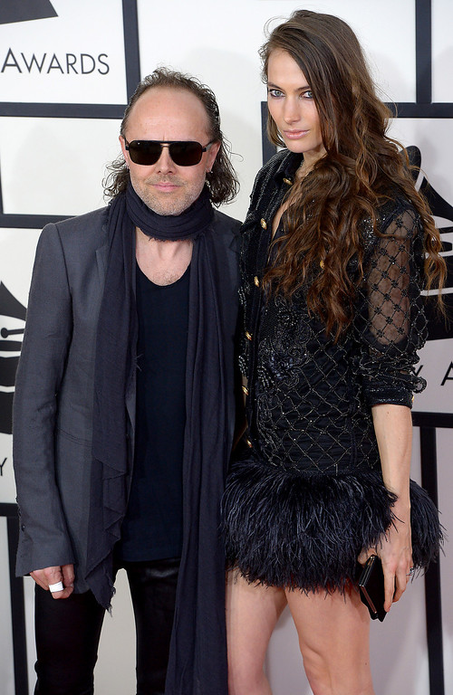 . Lars Ulrich and model Jessica Miller arrive at the 56th Annual GRAMMY Awards at Staples Center in Los Angeles, California on Sunday January 26, 2014 (Photo by David Crane / Los Angeles Daily News)