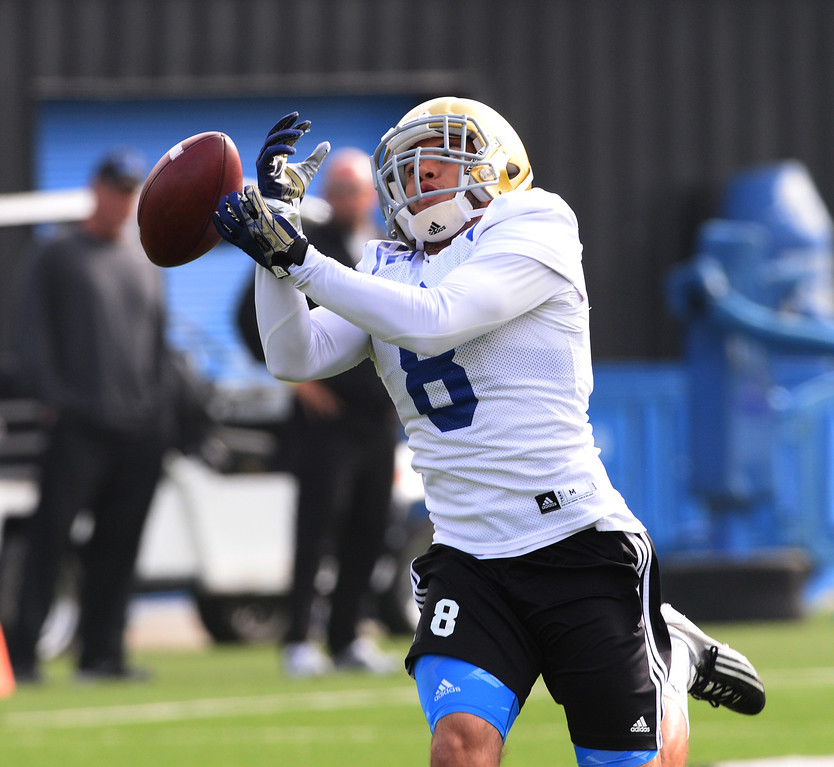 . UCLA football spring practice at Spaulding Field. Rec #8 Jalen Ortiz.  (Apr.16, 2014 Photo by Brad Graverson/The Daily Breeze)