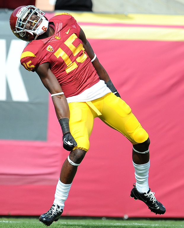 . Southern California wide receiver Nelson Agholor (15) reacts after scoring a touchdown against Utah during the first half of an NCAA college football game in the Los Angeles Memorial Coliseum in Los Angeles, on Saturday, Oct. 26, 2013.  (Photo by Keith Birmingham/Pasadena Star-News)