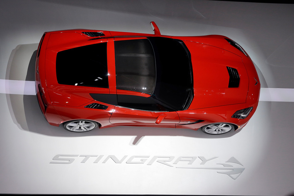 . A Chevrolet Corvette Stingray is displayed at the North American International Auto Show in Detroit, Tuesday, Jan. 15, 2013. (AP Photo/Carlos Osorio)