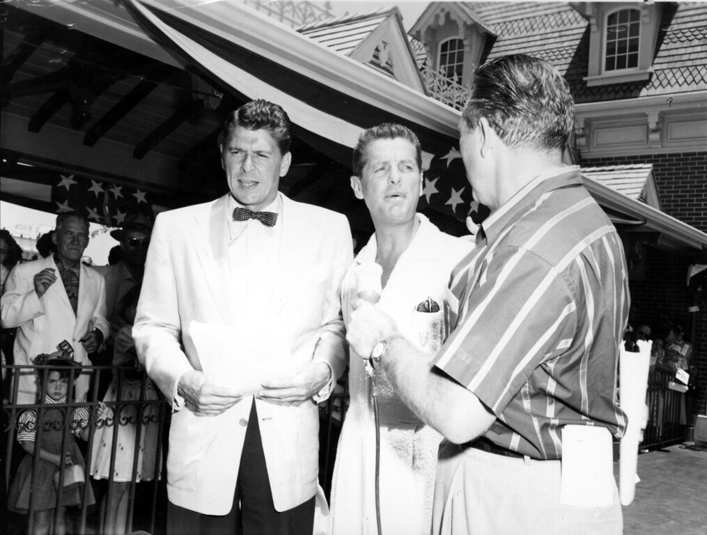 . Ronald Reagan, alongside fellow co-hosts Bob Cummings and Art Linkletter at Disneyland�s Opening Day on July 17, 1955.   (Photo courtesy of: The Walt Disney Archives )