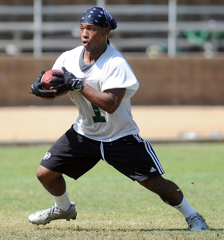 . RB Lawon Carney during morning practice at South Hills High School on Friday, Aug. 9, 2013 in West Covina, Calif.   (Keith Birmingham/Pasadena Star-News)