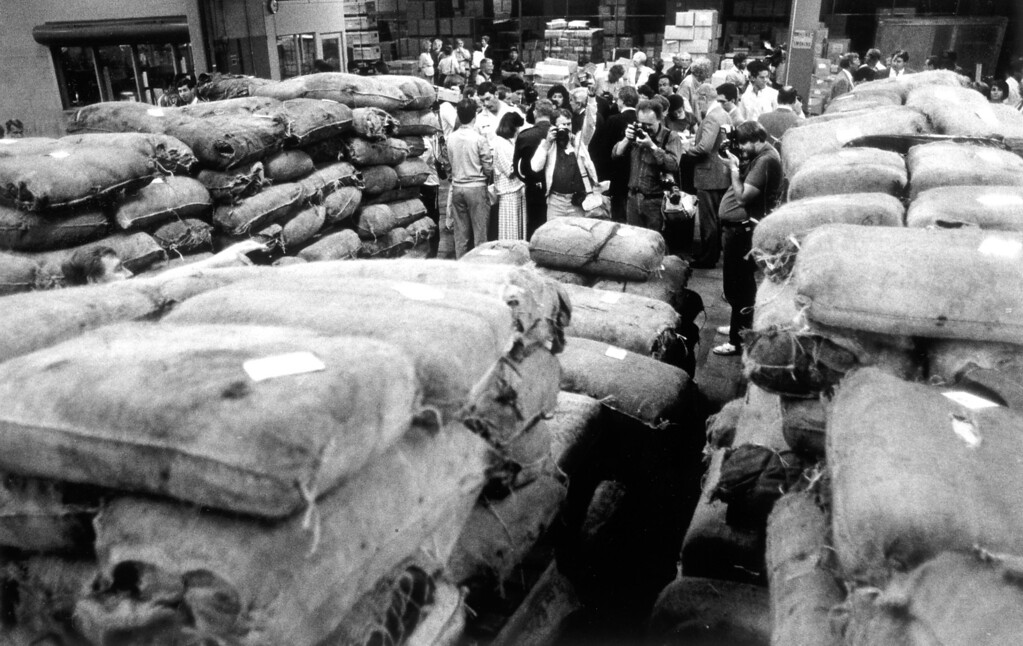 """. April 30, 1985: Ten tons of marijuana were seized by the Coast Guard as part of \""""Operation Pacific Task Force.\"""" The Coast Guard said the haul was a record for L.A. Harbor.   L.A. Daily News file photo"""