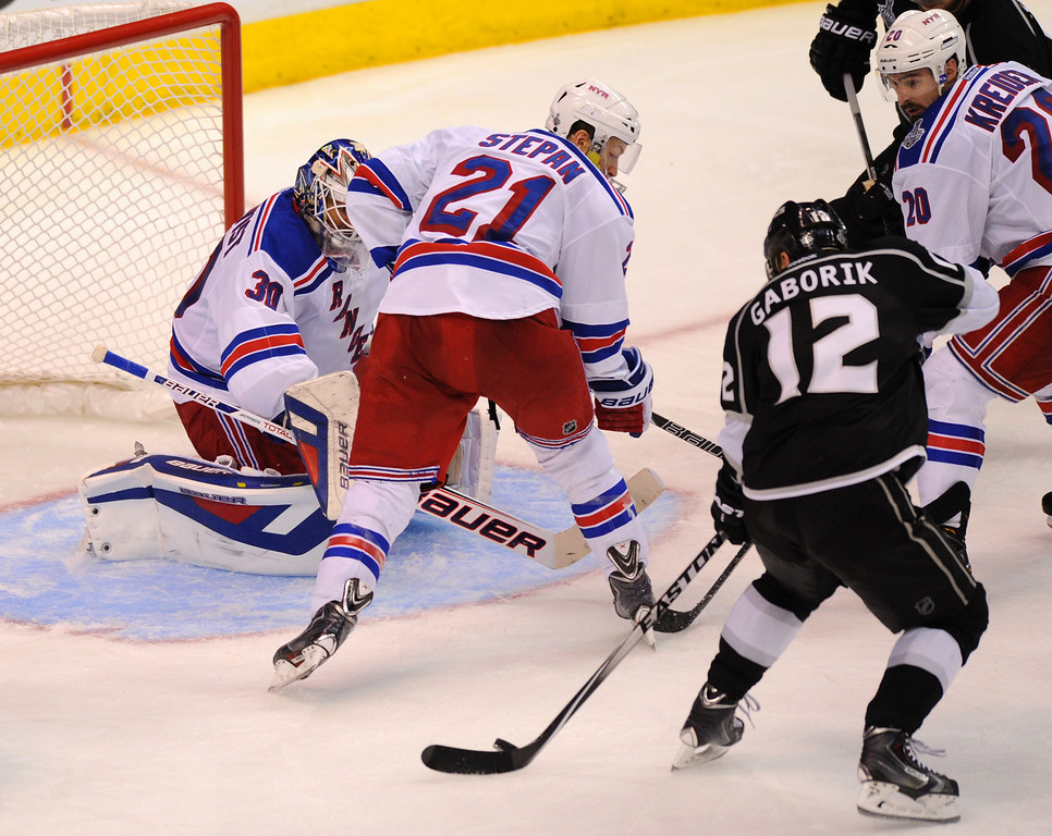 . The Kings\' Marian Gaborik ties up the game with his goal in the third period of game two of the Stanley Cup Final, Saturday, June 7, 2014, at Staples Center. (Photo by Michael Owen Baker/Los Angeles Daily News)