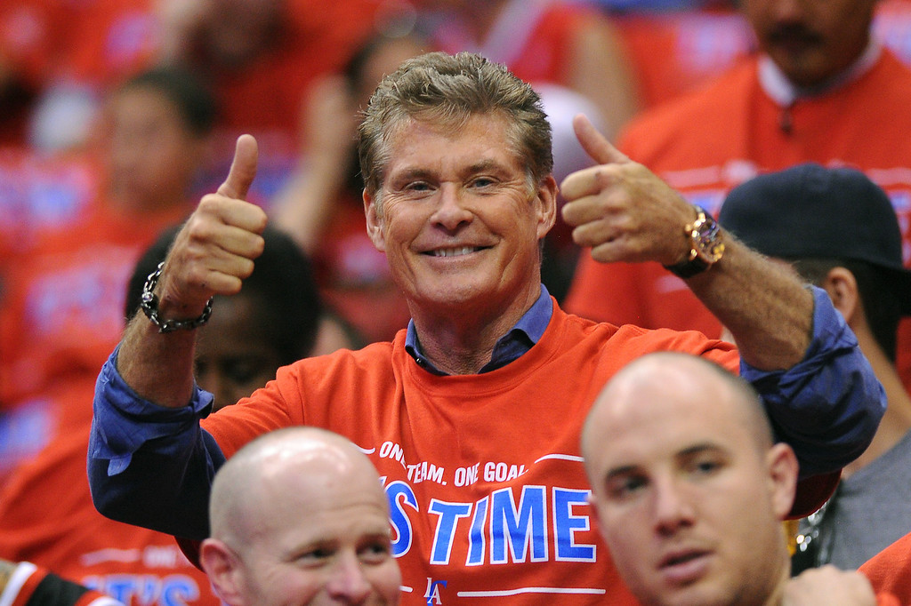 . David Hasselhoff attends the Clipper-Thunder game, Thursday, May 15, 2014, at Staples Center. (Photo by Michael Owen Baker/Los Angeles Daily News)