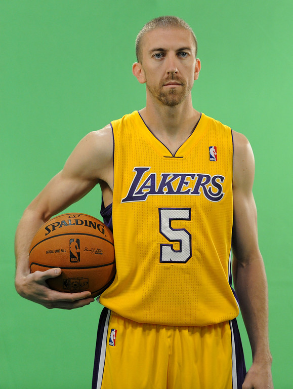 . Steve Blake does a public service announcement. The Los Angeles Lakers held a media day at their El Segundo practice facility. Players were photographed for team materials, and interviewed by the press. El Segundo, CA. 9/27/2013. photo by (John McCoy/Los Angeles Daily News)