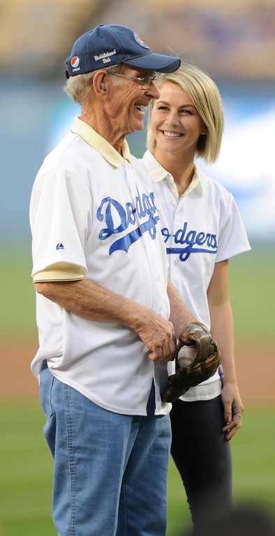 . Former announcer for the AAA Spokane Indians, Bob Hough and his Dancing with the Stars grand-daughter Julianne Hough were honored with the first pitch. The Los Angeles Dodgers played host to the Colorado Rockies in a game at Dodger Stadium in Los Angeles, CA 5/1/2013(John McCoy/Staff Photographer)