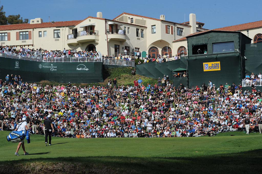 . Dustin Johnson walks up to the 18th green. Bubba Watson won the 2014 Northern Trust Open. Pacific Palisades, CA. February 16, 2014 (Photo by John McCoy / Los Angeles Daily News)