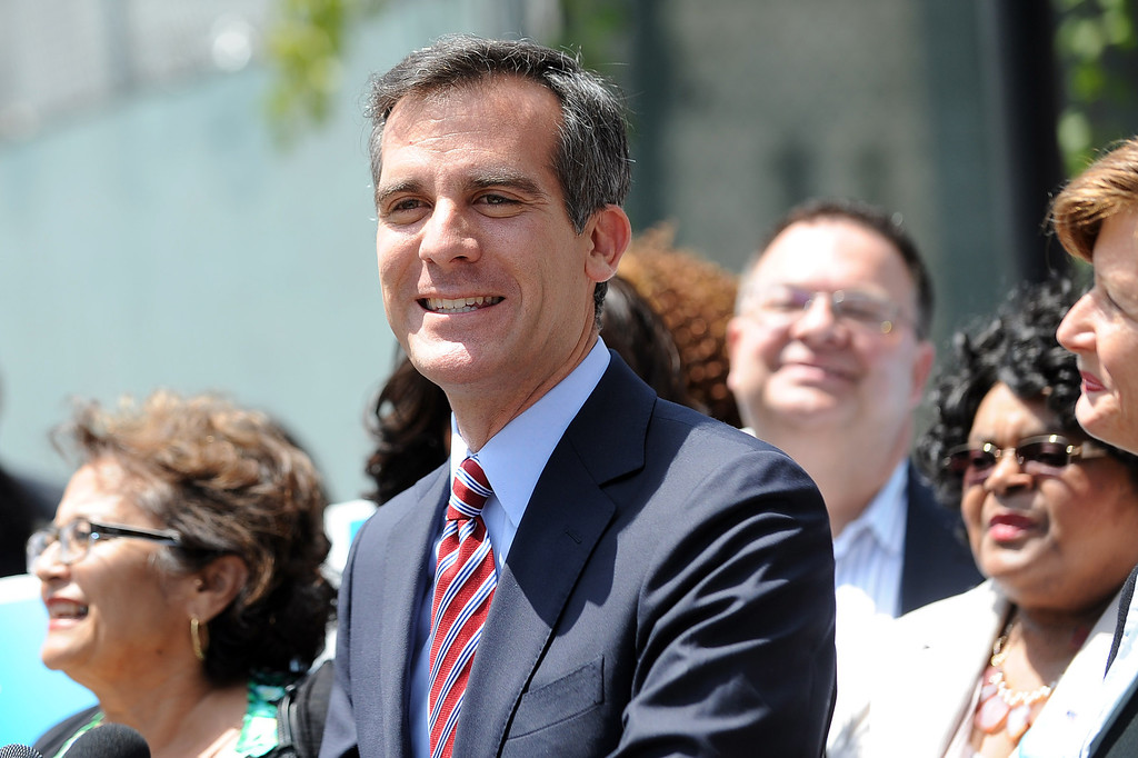 . Eric Garcetti lets out a smile while holding a press conference to discuss the election results at El Centro del Pueblo in Echo Park, CA May 22, 2013.  Eric Garcetti won the mayoral runoff Tuesday in Los Angeles.(Andy Holzman/Staff Photographer)