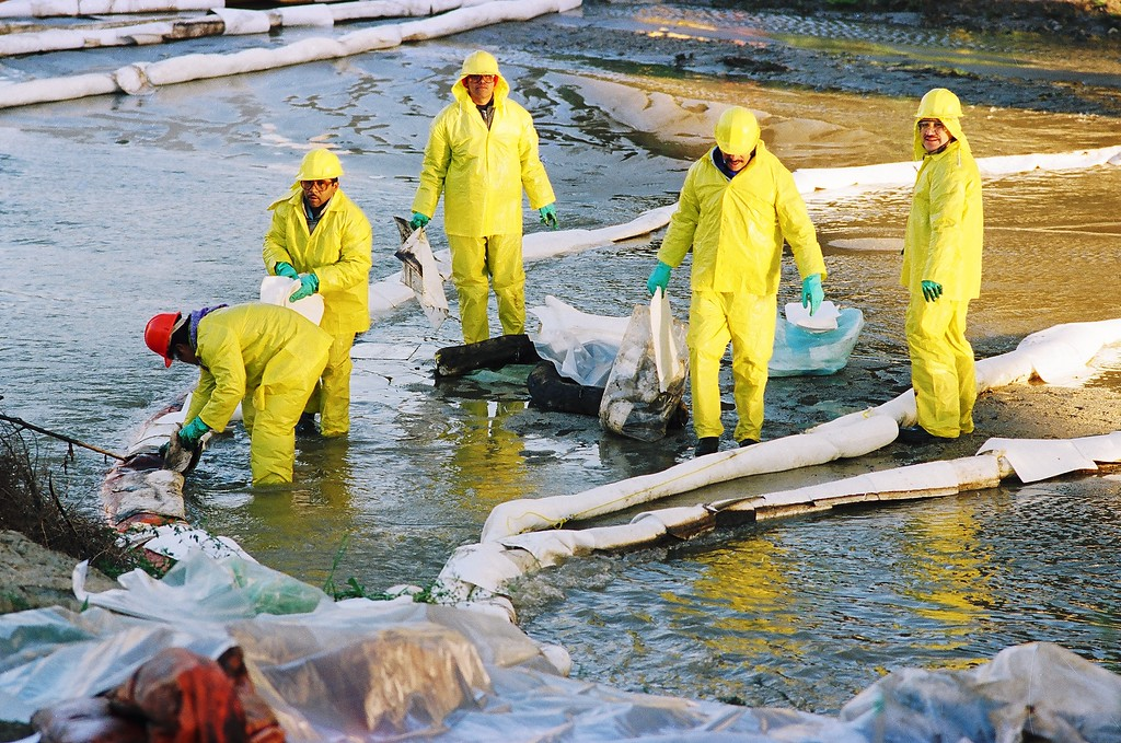 . Workers mop up oil that spilled into the Santa Clara River near The Old Road.  1/20/94   (David Crane/Los Angeles Daily News)