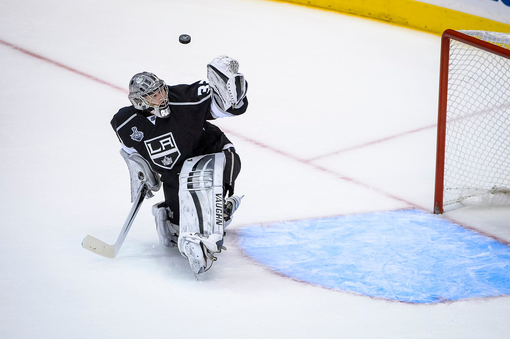 . Kings Jonathan Quick makes this save during third period action at Game 1 of the Stanley cup Finals at Staples Center Wednesday, June 4, 2014 ( Photo by David Crane/Los Angeles Daily News )