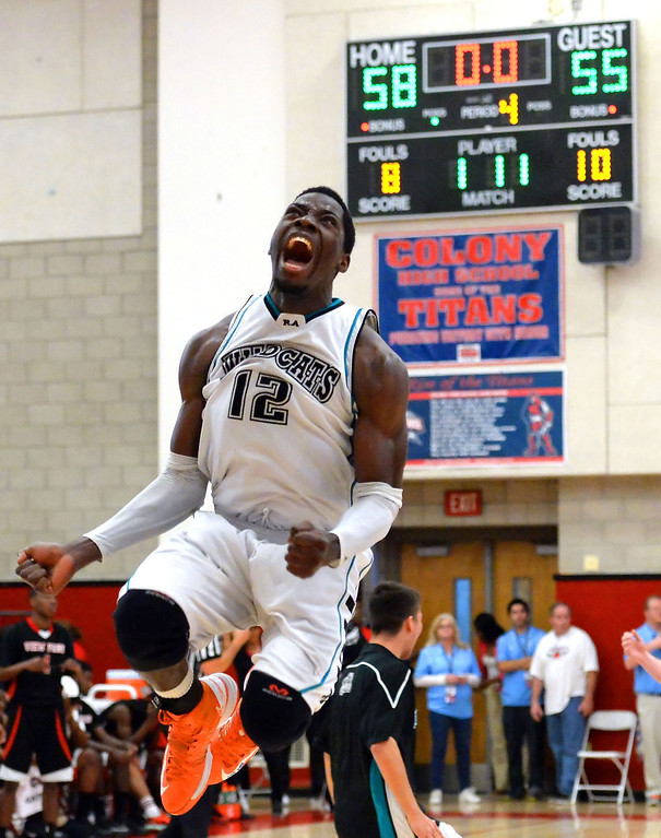. Renaissance Academy \'s Steve Herve (12) reacts after defeating View Park 58-55 during a CIF Southern California Regional Division basketball game at Colony High School in Ontario, Calif., on Saturday, March 22, 2014.  (Keith Birmingham Pasadena Star-News)