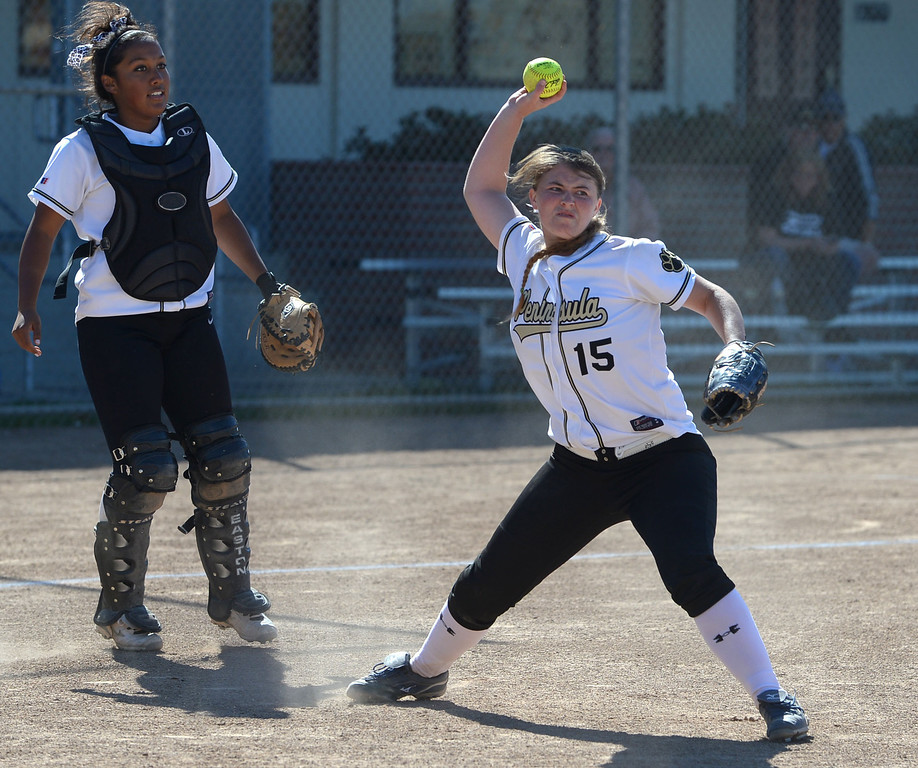 . Peninsula pitcher Cassie Lajeunesse makes the out at first against Arroyo Grande in a CIF Southern Section Division III wild-card softball game in Rolling Hills Estates Tuesday. Peninsula won the game 13-0. 20130514 Photo by Steve McCrank / Staff Photographer