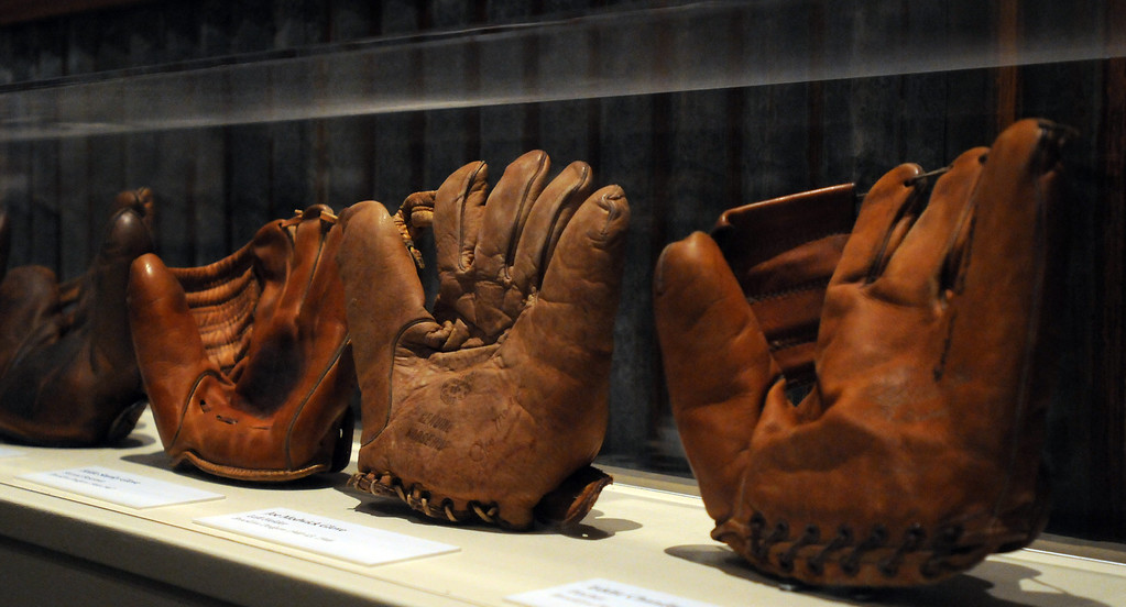 """. Gloves worn by players in the mid 1940\'s are included in the \""""Baseball!\"""" exhibit. The Exhibition opens April 4, 2014 at the Ronald Reagan Presidential Library and Museum.  Running through September 4, 2014, Baseball is a 12,000 square foot exhibition featuring over 700 artifacts, including some of the rarest, historic and iconic baseball memorabilia.  (Photo by Dean Musgrove/Staff Photographer)"""