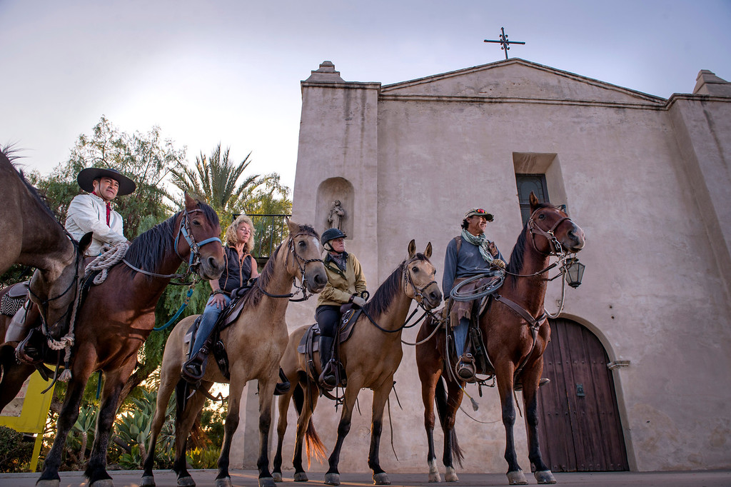 . Equestrians arrive at Mission San Gabriel as part of The California Mission Ride October 8, 2013.  The seven horseback enthusiasts were greeted by members of the Gabrieleño Band of Mission Indians/Kizh Nation whose forefathers built Mission San Gabriel finishing in 1771.(Staff photo by Leo Jarzomb/Pasadena Star-News)