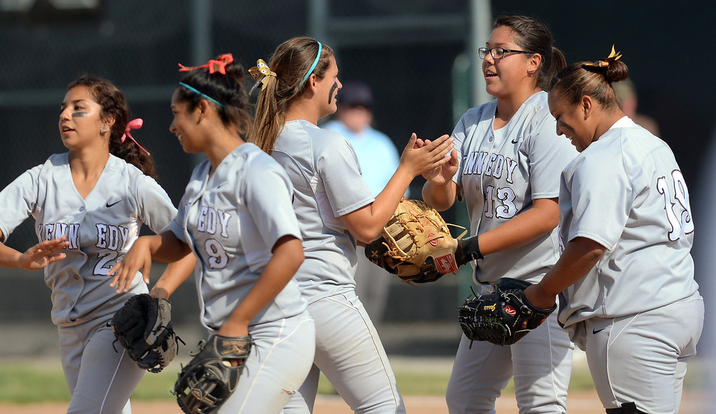 . Kennedy players gather on the mound after recording an out against Narbonne High School during the CIF City Section Div. I softball semifinal in Granada Hills, Ca May 21, 2013.(Andy Holzman/Staff Photographer)