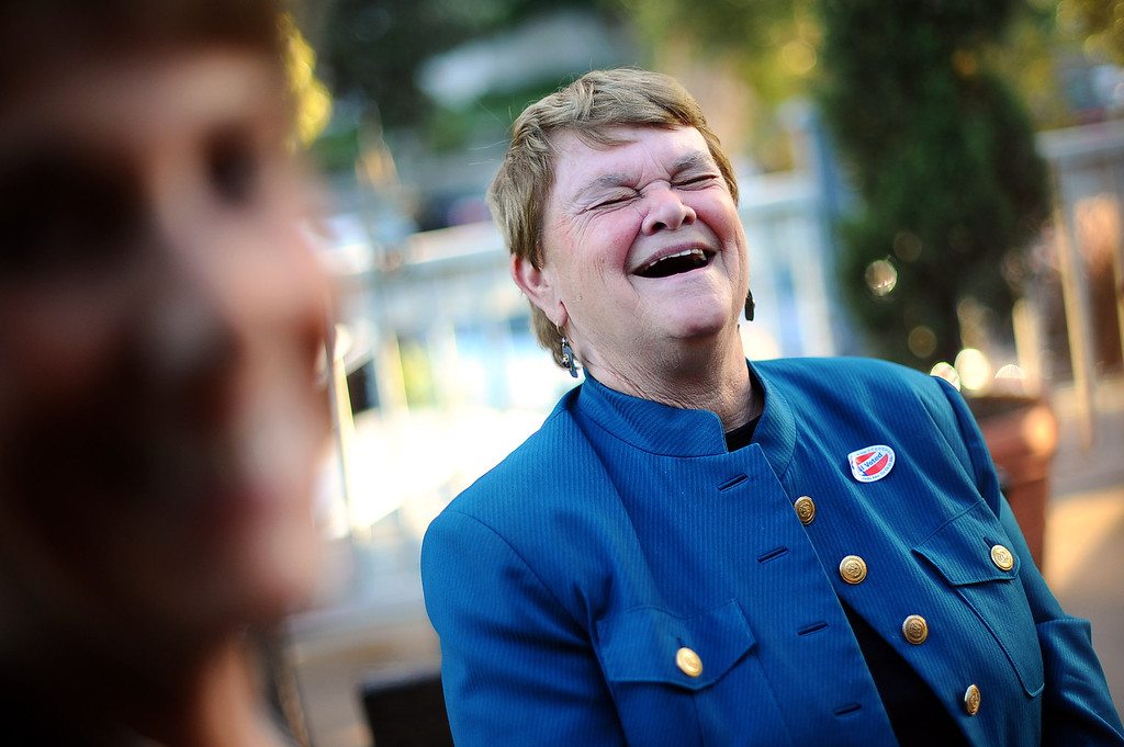 . District 3 Supervisor candidate Sheila Kuehl is all smiles as she talks with supporters during her election night party in Santa Monica June 3, 2014. .(Andy Holzman/Los Angeles Daily News)