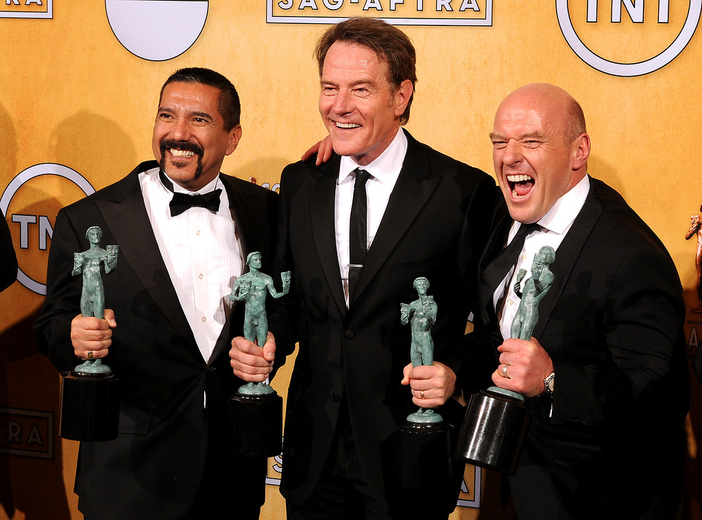 . Cast of Breaking Bad backstage at the 20th Annual Screen Actors Guild Awards  at the Shrine Auditorium in Los Angeles, California on Saturday January 18, 2014 (Photo by John McCoy / Los Angeles Daily News)