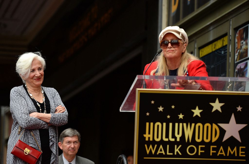 . HOLLYWOOD, CA - MAY 24:  Actress Olympia Dukakis (L) and actress Diane Ladd attend Olympia Dukakis being honored with the 2,498th Star on The Hollywood Walk Of Fame on May 24, 2013 in Hollywood, California.  (Photo by Mark Davis/Getty Images)