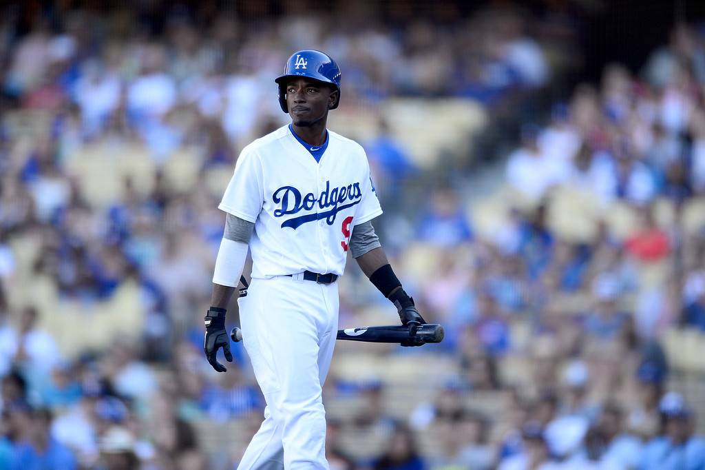 . Dodgers\' Dee Gordon comes off the field in the ninth as the Rockies defeat Dodgers 2-1 at Dodger Stadium during their final game of the regular season Sunday, September 29, 2013. (Photo by Sarah Reingewirtz/Pasadena Star-News)
