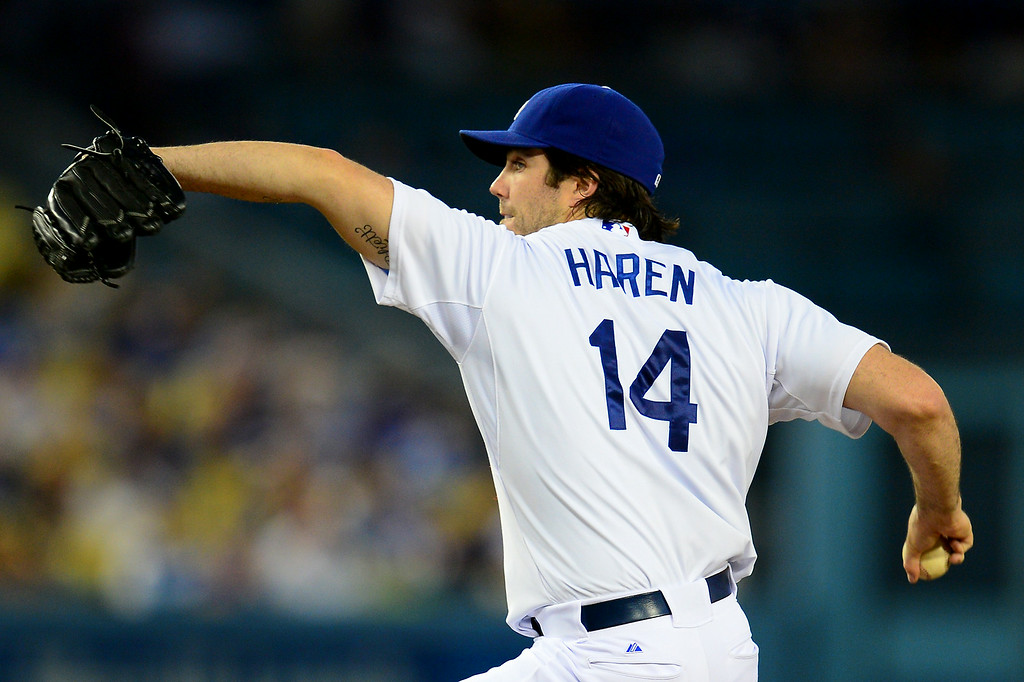 . Dodgers starter Dan Haren struck out six and walked none during the win over the Mets, Friday, August 22, 2014, at Dodger Stadium. (Photo by Michael Owen Baker/Los Angeles Daily News)