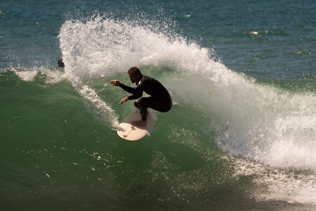 . A surfer takes advantage of big swells generated by Hurricane Marie at Surfer\'s Point in Ventura, Tuesday, August 26, 2014. (Photo by Michael Owen Baker/Los Angeles Daily News)