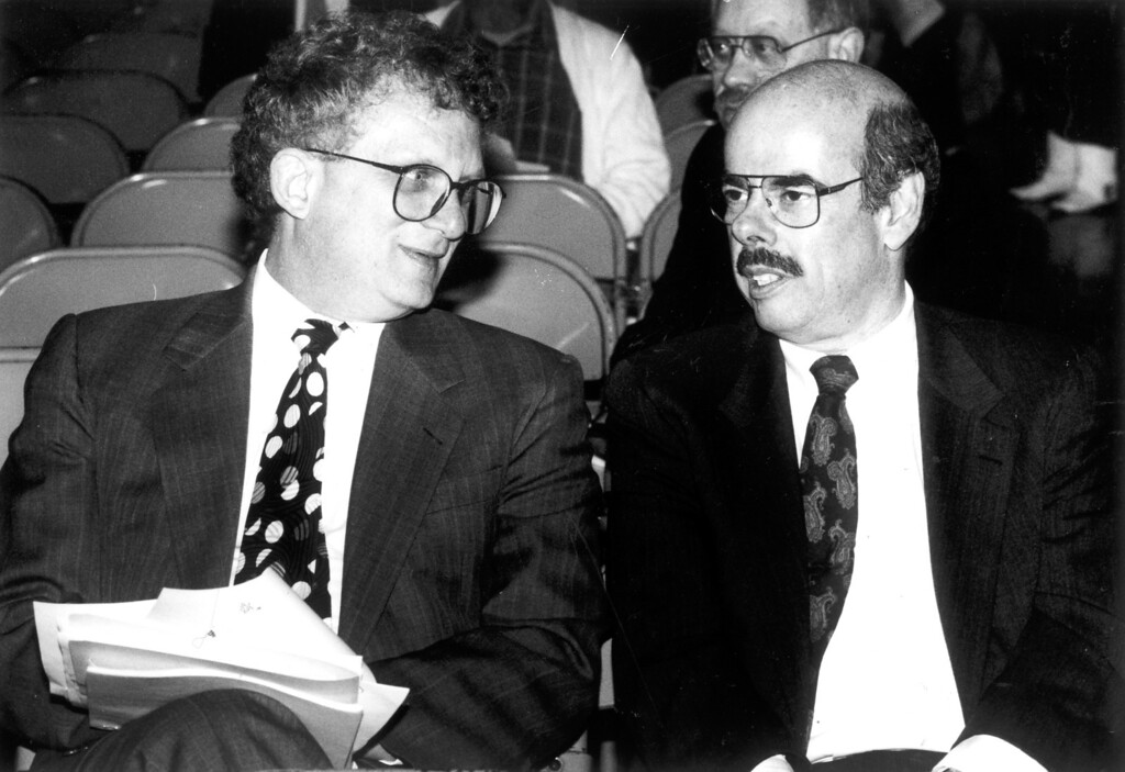 . Congressman Howard Berman, left, and Henry Waxman on December 5, 1991.      (Los Angeles Daily News file photo)
