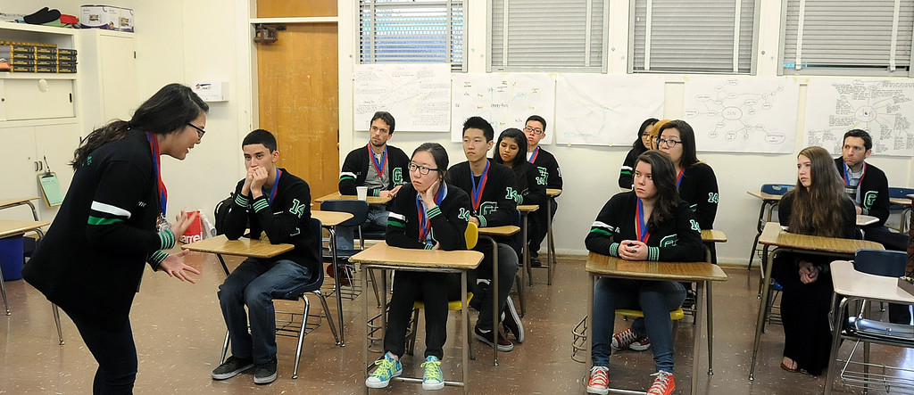 . The Granada Hills Charter High School Academic Decathlon team took second place in the California State Decathlon competition in Sacramento.  El Camino Real Charter High School finished first.  Both teams will travel to Hawaii for the National competition.  Members of the team listen to a speech in their classrom on Monday, March 24, 2014.  (Photo by Dean Musgrove/Los Angeles Daily News)