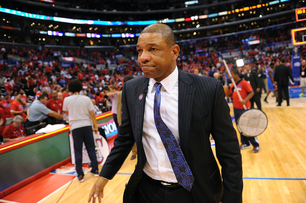 . Clippers coach Doc Rivers walks off the court after losing to the Thunder 104-98, Thursday, May 15, 2014, at Staples Center. (Photo by Michael Owen Baker/Los Angeles Daily News)