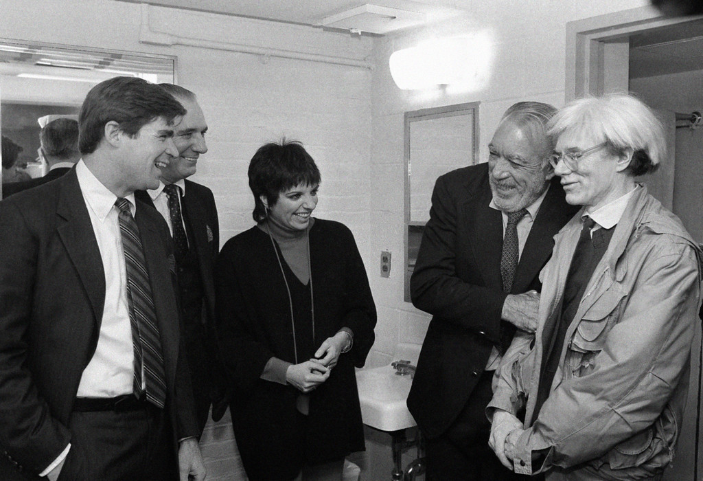. Andy Warhol at the off Broadway play �Some Men Need Help� in New York on Jan. 13, 1982. He is with Treat Williams, Liza Minnelli, and Anthony Quinn. (AP Photo/Suriani)