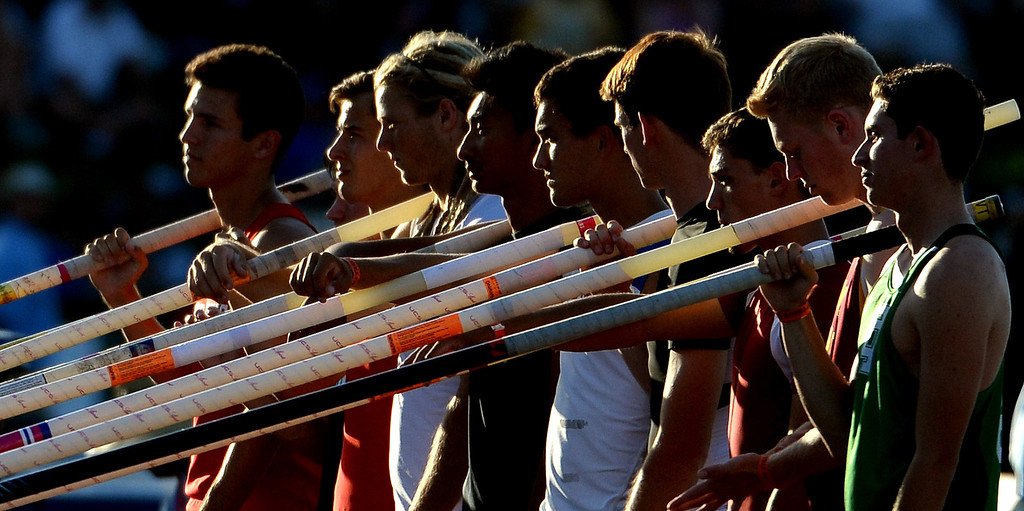 . Pole vaulters are announced during the CIF California State Track & Field Championships at Veteran\'s Memorial Stadium on the campus of Buchanan High School in Clovis, Calif., on Saturday, June 7, 2014. 