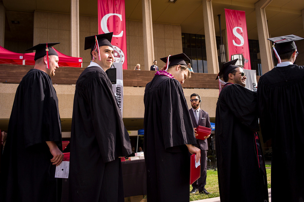 . CSUN grads march in for graduation ceremonies at Cal State Northridge Monday, May 19, 2014.  ( Photo by David Crane/Los Angeles Daily News )