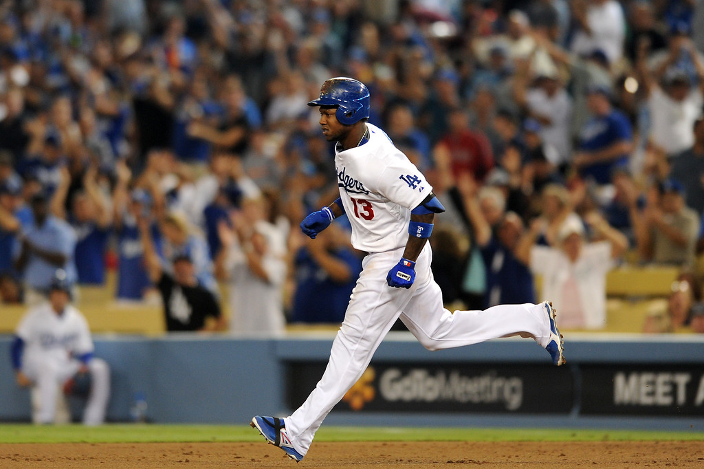 . The Dodgers Hanley Ramirez runs the bases after hitting a two-run homer in the fourth inning against the Red Sox Friday, August 23, 2013. (Michael Owen Baker/L.A. Daily News)