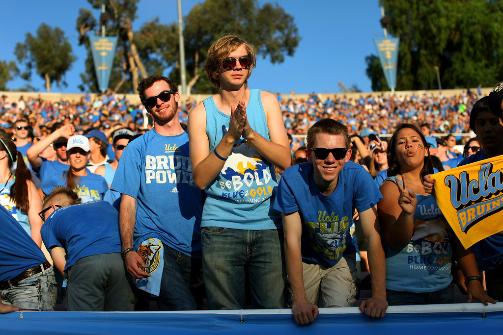 . UCLA fans watch the game against Colorado, Saturday, November 2, 2013, at the Rose Bowl. (Photo by Michael Owen Baker/L.A. Daily News)