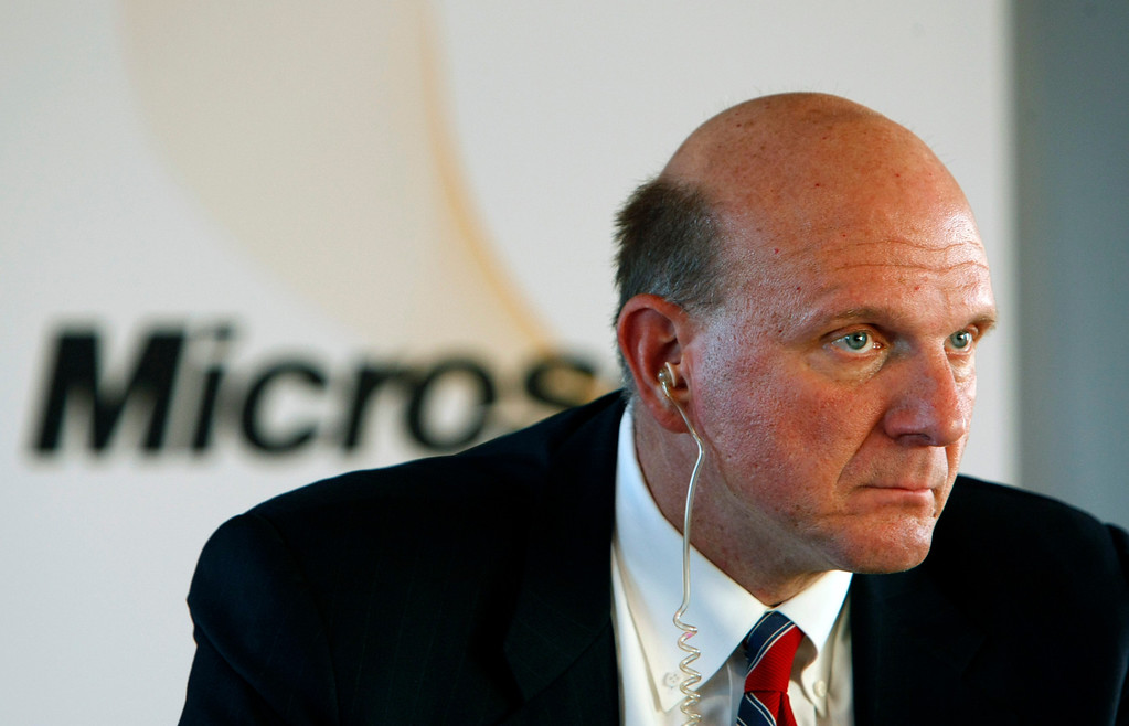 . Microsoft\'s Chief Executive Steve Ballmer is seen during a press conference he gave in Paris, Thursday Oct.7, 2010, after signing an agreement with French national Library chairman Bruno Racine. (AP Photo / Remy de la Mauviniere)