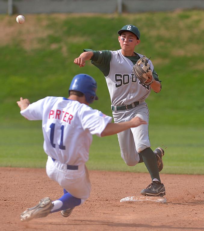 . 0509_SPT_TDB-L-SOUTH-ELSEG--- El Segundo, CALIFORNIA--5/8/13--- Staff Photo: Robert Casillas / LANG--- South Torrance defeated host El Segundo 6-3 in Pioneer League baseball game. South\'s Perry Richmond.